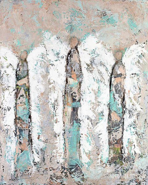 Wall Art - Painting - Calico Angel Trio by Kirsten Reed