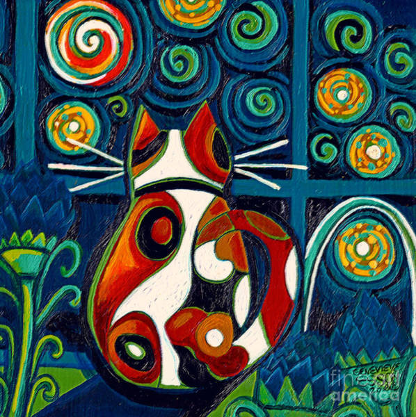 Calico Kitten Wall Art - Painting - Calico Cat At Window On A Starry Night by Genevieve Esson