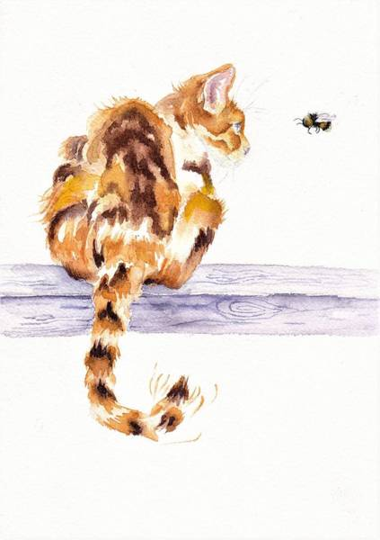 Wall Art - Painting - Calico Cat Bee Watchful by Debra Hall