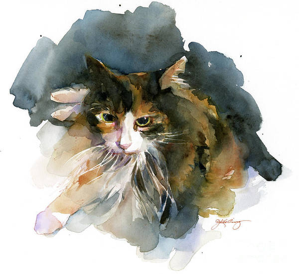 Calico Cat Painting - Calico Cat by John Keeling