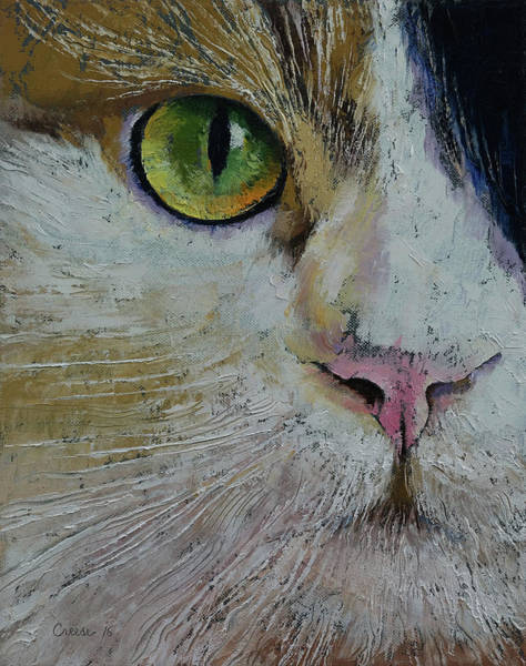 Looking Up Painting - Calico Cat by Michael Creese