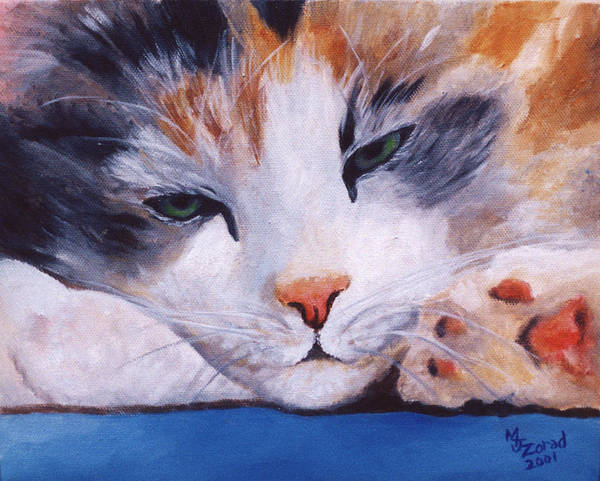Calico Cat Power Nap Series Art Print by Mary Jo Zorad