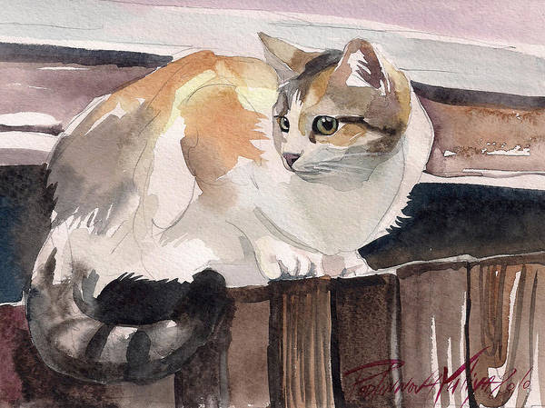 Wall Art - Painting - Calico Cat by Yuliya Podlinnova