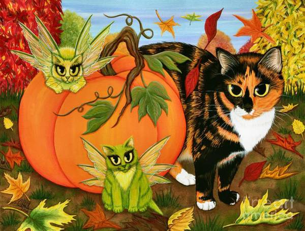 Painting - Calico's Mystical Pumpkin by Carrie Hawks