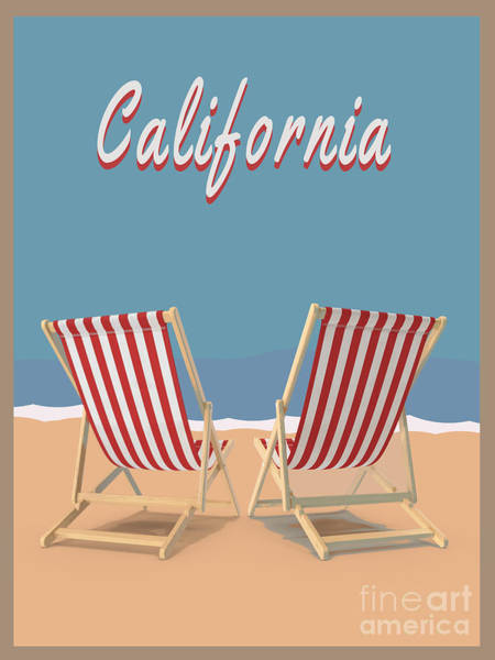 California Beaches Digital Art - California Beach Vintage Poster by Edward Fielding
