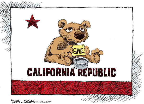 Drawing - California Budget Begging by Daryl Cagle