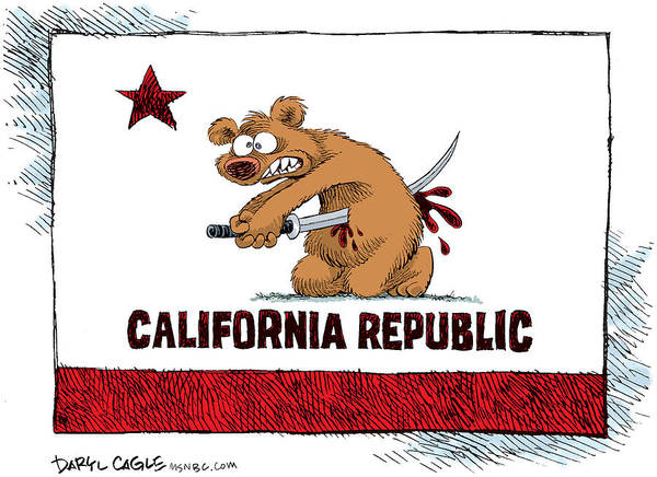 Drawing - California Budget Harakiri by Daryl Cagle
