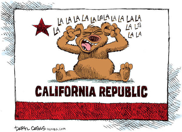 Drawing - California Budget La La La by Daryl Cagle