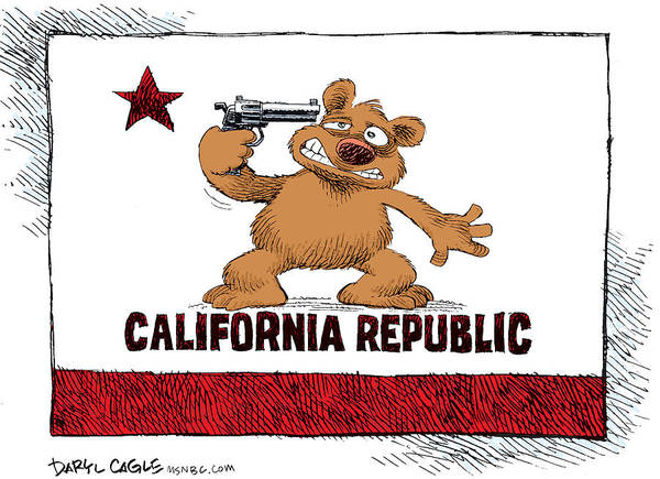 Drawing - California Budget Suicide by Daryl Cagle