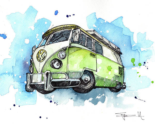 Painting - California Bus by Sean Parnell