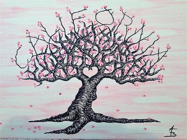 Drawing - California Cherry Blossom Love Tree by Aaron Bombalicki