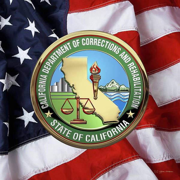 Digital Art - California Department Of Corrections And Rehabilitation - C D C R  Logo Over American Flag by Serge Averbukh