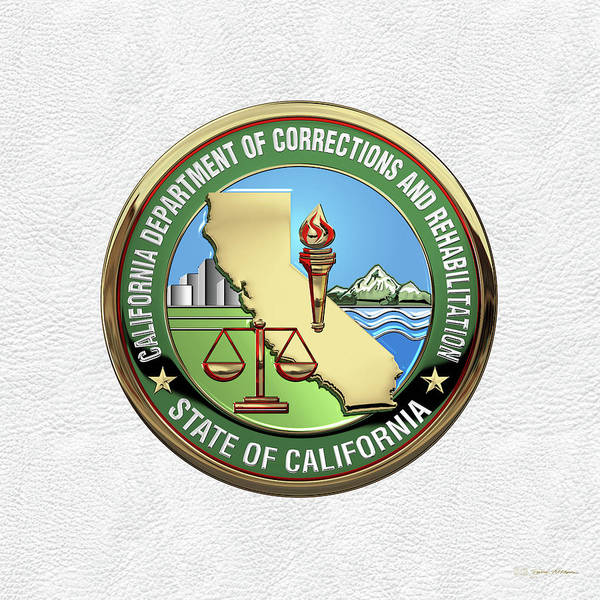 Digital Art - California Department Of Corrections And Rehabilitation - C D C R  Logo Over White Leather by Serge Averbukh