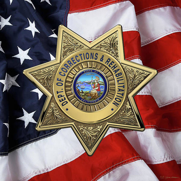 Digital Art - California Department Of Corrections And Rehabilitation - C D C R  Officer Badge Over American Flag by Serge Averbukh