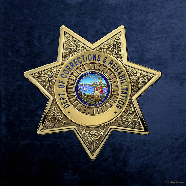 Digital Art - California Department Of Corrections And Rehabilitation - C D C R  Officer Badge Over Blue Velvet by Serge Averbukh