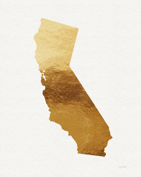Map Art Mixed Media - California Gold- Art By Linda Woods by Linda Woods