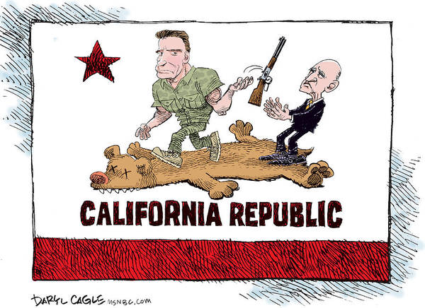 Drawing - California Governor Handoff by Daryl Cagle