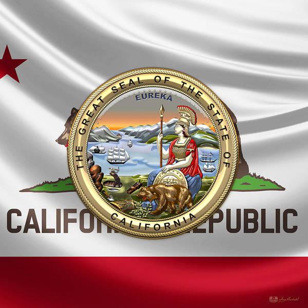 Digital Art - California Great Seal Over Flag by Serge Averbukh