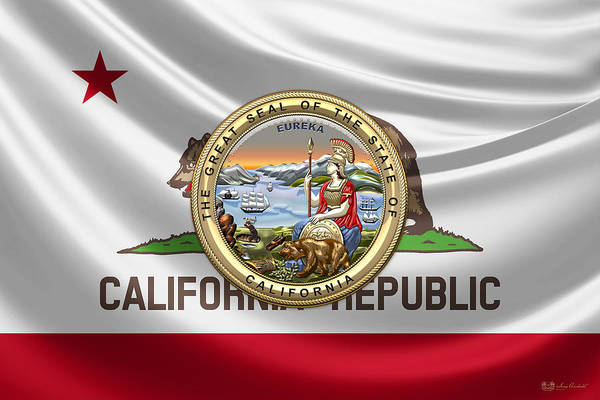 Digital Art - California Great Seal Over State Flag by Serge Averbukh