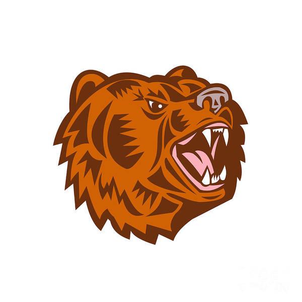 Grizzly Bears Digital Art - California Grizzly Bear Head Growling Woodcut by Aloysius Patrimonio
