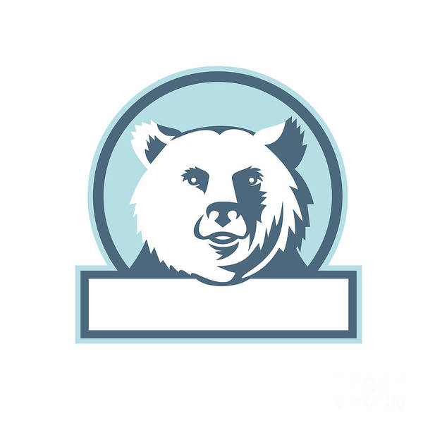 Grizzly Bears Digital Art - California Grizzly Bear Head Smiling Circle Retro by Aloysius Patrimonio