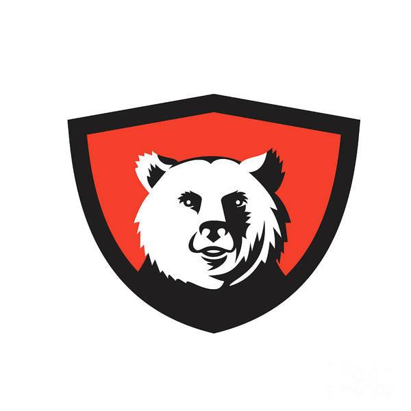 Grizzly Bears Digital Art - California Grizzly Bear Head Smiling Crest Retro by Aloysius Patrimonio