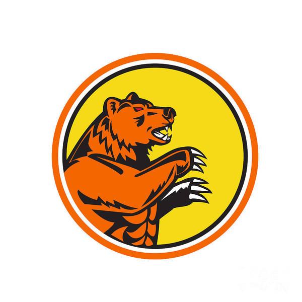 Grizzly Bears Digital Art - California Grizzly Bear Side Circle Retro by Aloysius Patrimonio