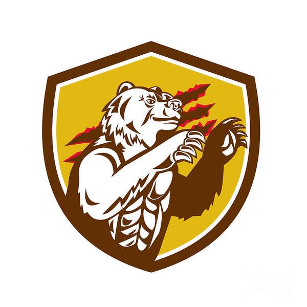 Grizzly Bears Digital Art - California Grizzly Bear Smirking Claw Marks Crest Retro by Aloysius Patrimonio