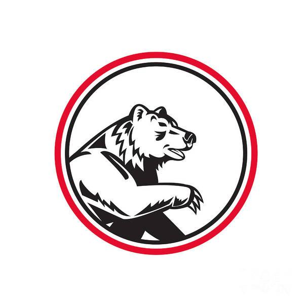Grizzly Bears Digital Art - California Grizzly Bear Swipe Paw Circle Retro by Aloysius Patrimonio