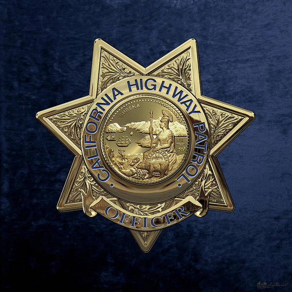 Digital Art - California Highway Patrol  -  C H P  Police Officer Badge Over Blue Velvet by Serge Averbukh