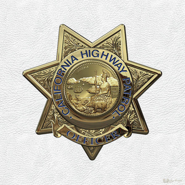 Digital Art - California Highway Patrol  -  C H P  Police Officer Badge Over White Leather by Serge Averbukh