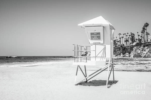 Duty Photograph - California Lifeguard Tower In Black And White by Paul Velgos