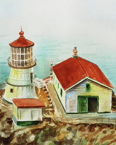 Wall Art - Painting - California Lighthouse Point Reyes  by Irina Sztukowski