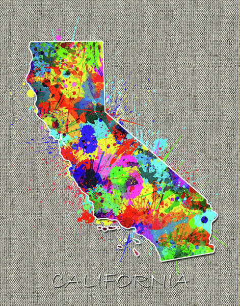 California Beaches Digital Art - California Map Color Splatter 4 by Bekim M