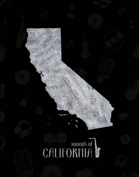 California Beaches Digital Art - California  Map Music Notes 2 by Bekim M