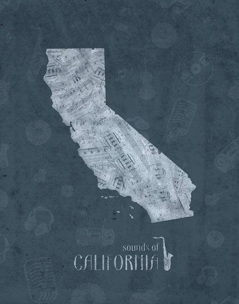 California Beaches Digital Art - California Map Music Notes 4 by Bekim M