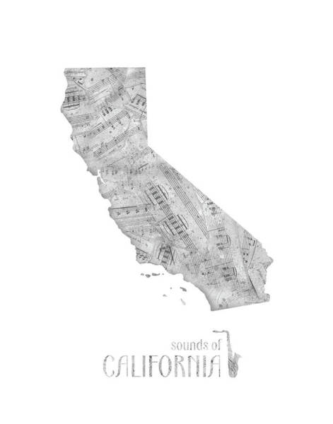 California Beaches Digital Art - California Map Music Notes by Bekim M