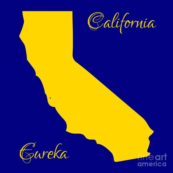 Digital Art - California Map With State Colors And Motto by Rose Santuci-Sofranko