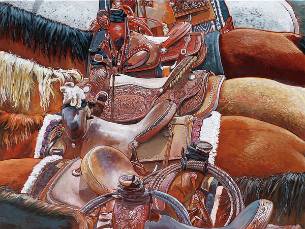 Roping Painting - California Members Only by Nadi Spencer