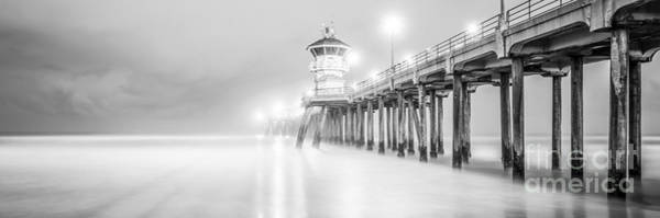 Huntington Beach Photograph - California Pier Black And White Panorama Photo by Paul Velgos