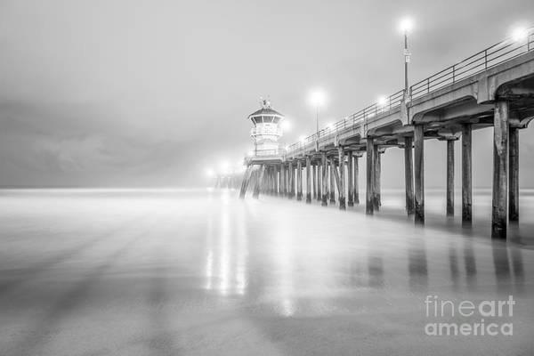 Huntington Beach Pier Photograph - California Pier In Black And White by Paul Velgos