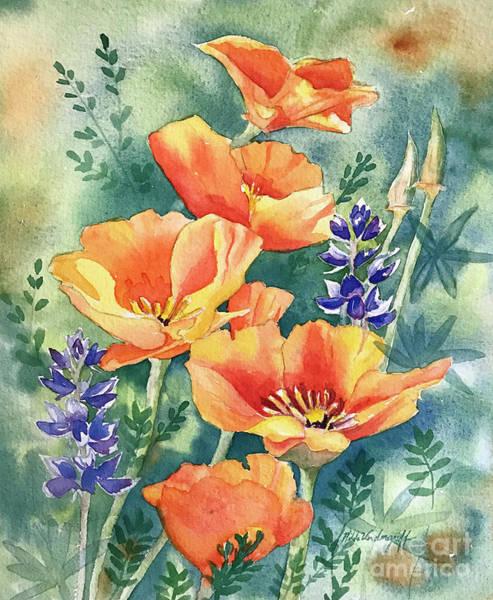 Painting - California Poppies In Bloom by Hilda Vandergriff