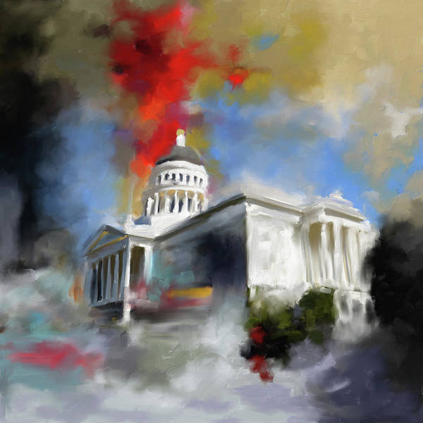 Chinatown Painting - California State Capitol Building 556 1 by Mawra Tahreem