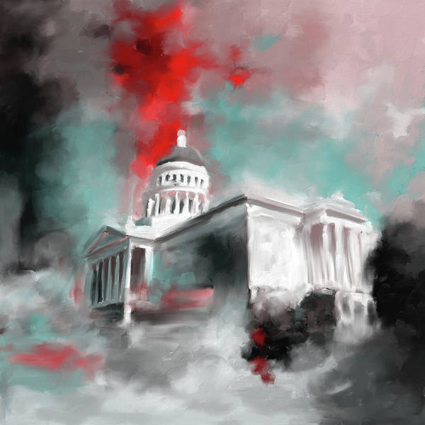 Chinatown Painting - California State Capitol Building 556 2 by Mawra Tahreem