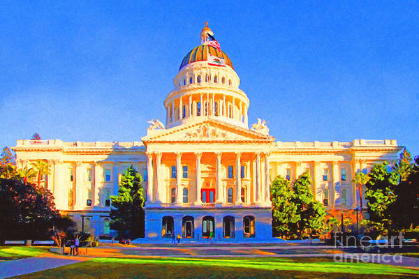 Capitol Digital Art - California State Capitol . Painterly by Wingsdomain Art and Photography