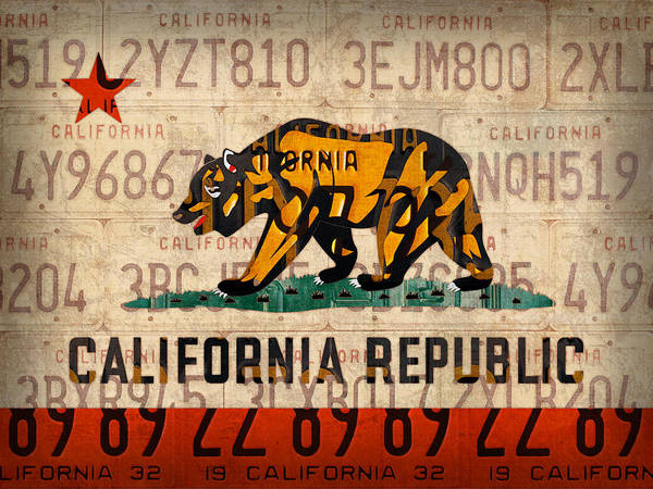 Wall Art - Mixed Media - California State Flag Recycled Vintage License Plate Art by Design Turnpike