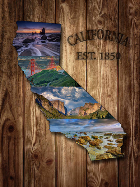 Wall Art - Photograph - California State Map Collage by Rick Berk