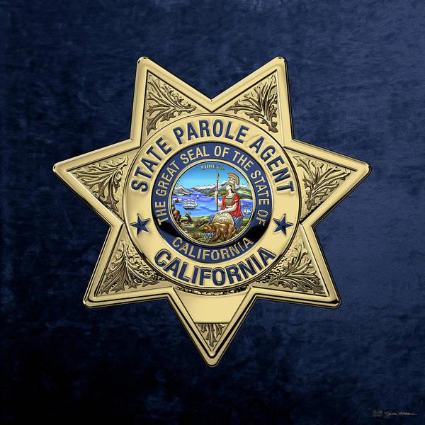 Digital Art - California State Parole Agent Badge Over Blue Velvet by Serge Averbukh
