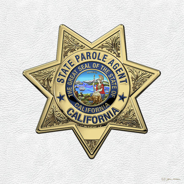 Digital Art - California State Parole Agent Badge Over White Leather by Serge Averbukh