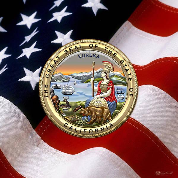 Digital Art - California State Seal Over U.s. Flag by Serge Averbukh